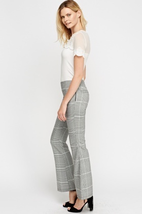 Mono Checked Wide Hem Trousers