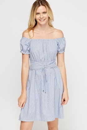 Off Shoulder Pinstriped Dress
