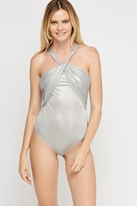 Ruched Halter Neck Metallic Bodysuit