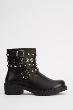 Studded Buckle Side Ankle Boots