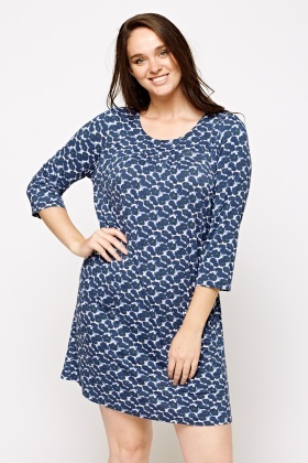 Simple And Chic London Flower Printed Navy Dress