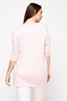 3/4 Sleeve Pink Casual Top