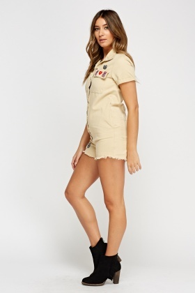 Applique Embellished Casual Playsuit