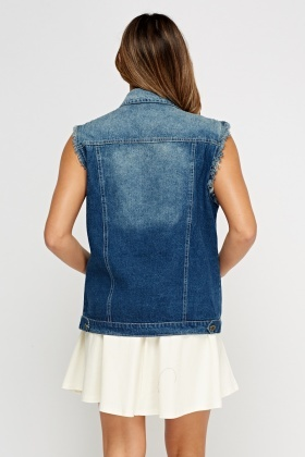 Applique Sleeveless Denim Jacket