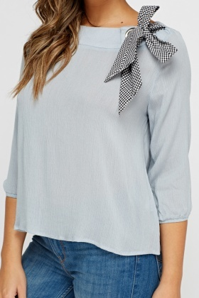 Bow Embellished Casual Top