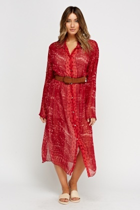 Button Up Sheer Red Midi Dress