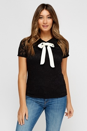 Contrast Bow Mesh Top