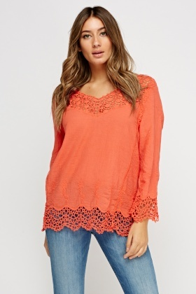 Crochet Embellished Cotton Top