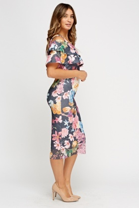 Cut Out Shoulder Frilled Midi Dress