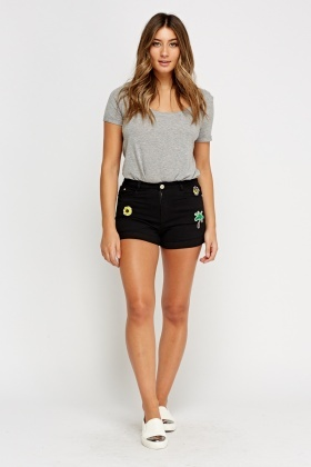 Embroidered Applique Denim Shorts