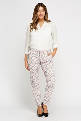 Floral Print Casual Trousers