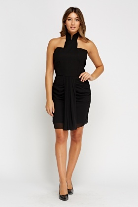Halter Neck Ruched Black Dress