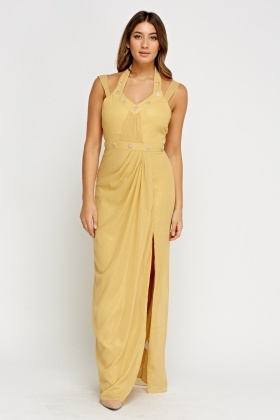 Halter Neck Ruched Maxi Dress