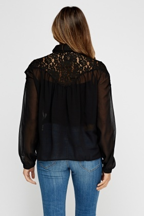 Insert Lace Sheer Blouse