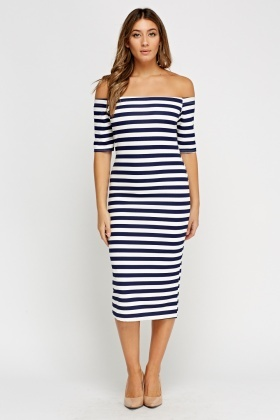 Off Shoulder Striped Midi Dress