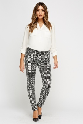 Polka Dot Textured Trousers