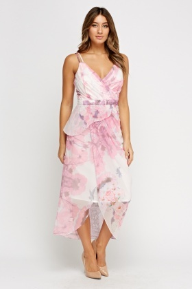 Ruched Pink Midi Dress