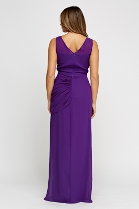 Ruched Purple Maxi Dress