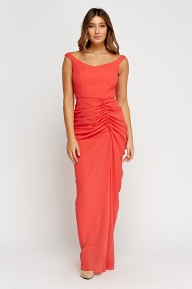 Ruched Watermelon Maxi Dress