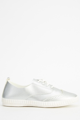 Brogue Faux Leather Lace Up Trainers
