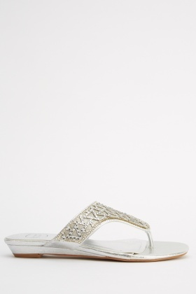 Embellished Metallic Wedged Flip Flops