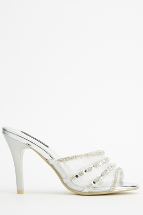 Encrusted Mesh Open Toe Heels