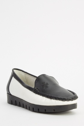 Faux Leather Contrast Loafers