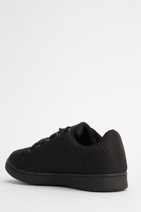 Ribbon Lace Up Black Trainers
