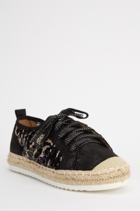 Sequin Espadrille Contrast Shoes