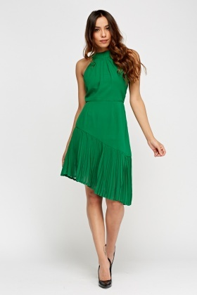 Asymmetric Pleated Green Dress