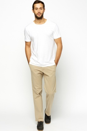 Beige Chino Straight Leg Trousers