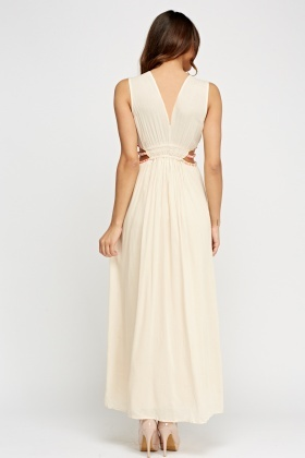 Beige Cut Out Side Maxi Dress