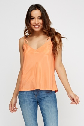 Coral V-Neck Cami Top