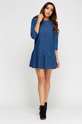 Denim Flare Hem Dress