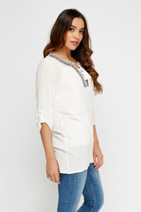 Embroidered Tie Up Neck Tunic Top