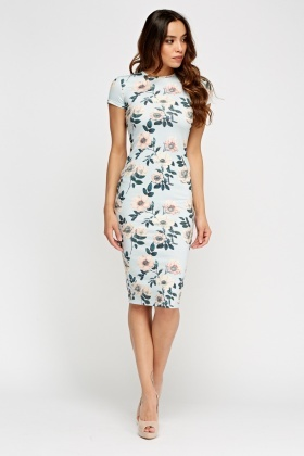 Floral Short Sleeve Bodycon Dress