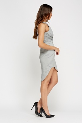 Grey Ruched Asymmetric Hem Dress