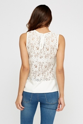 Lace Back Dip Hem Top