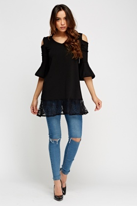 Lace Hem Black Top