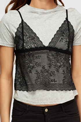 Lace Overlay Cami Grey T-Shirt