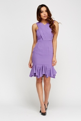 Lilac Frilled Hem Wrap Dress