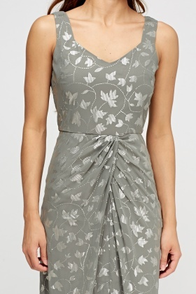 Metallic Printed Grey Maxi Dress