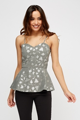 Metallic Printed Peplum Top