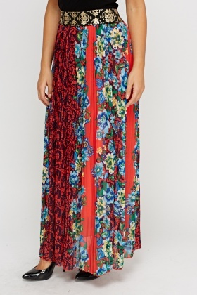 Metallic Waist Printed Pleated Maxi Skirt