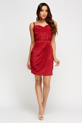 Red Ruched Wrap Dress