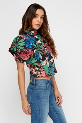 Ruched Sleeve Printed Top