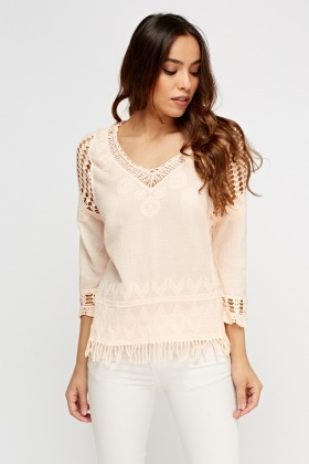Stitched Detailed Fringe Hem Top