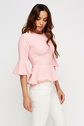 Textured Peplum Fare Sleeve Top