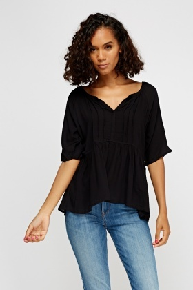 Casual Flare Hem Black Top