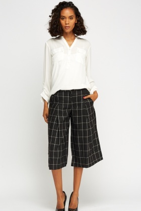 Check Grid Wide Culottes